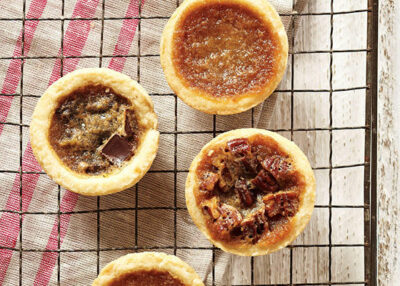 top down view of maple butter tarts