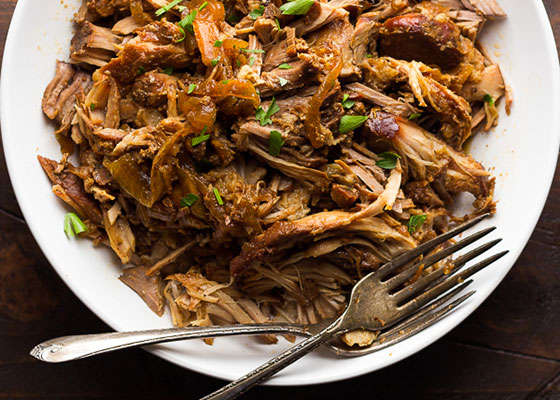 plate of maple pulled pork